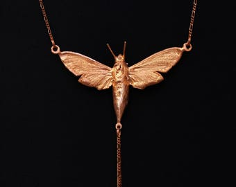 Real electrocoppered moth, pendant, necklace; Real Butterfly copper plated, necklace