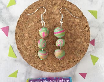 Dreamy Droplets in Mint Pink  •  Polymer Clay  •  Handmade  •  Stainless Steel  • Gift Idea  • Earrings • Unique  •