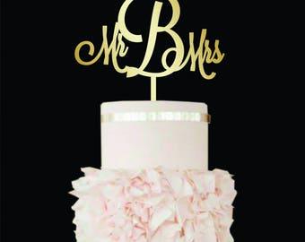 Wedding Cake Topper Letter b cake topper initial cake topper cake topper b V W Mr and Mrs Cake Topper gold Mr Mrs cake topper Wood Monogram