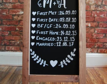 Personalised 'Our Love Story' Timeline Wedding Sign | Love Timeline | Chalkboard | Hand Drawn | Wedding Signs | Wedding chalkboard sign
