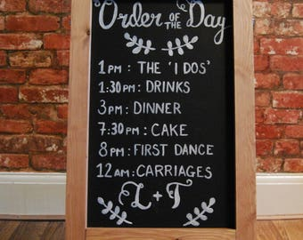 Personalised & Hand Drawn 'Order of the Day' Chalkboard Sign | Order of Service Wedding Sign | Order of Service Wedding | Wedding Signs