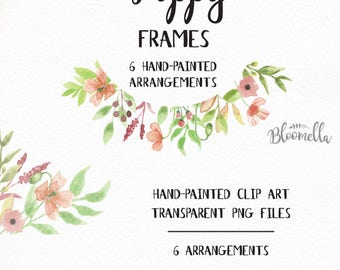 6 Watercolour Poppy Frame Clipart - Hand Painted Green Spring Summer INSTANT DOWNLOAD PNGs Leaf Garlands Wreaths Peach Pink Leaves Digital