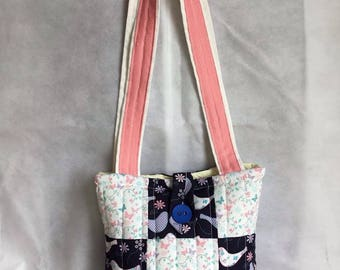Birds and butterflies quilted tote bag