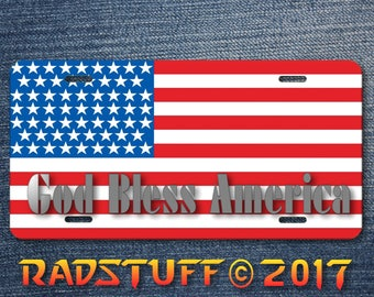 "God Bless America Flag Novelty License Plate 6""x12"" Aluminum"