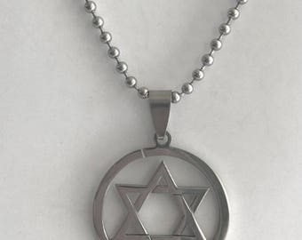 "Stainless Steel Jewish Star / Star of David Pendant on 24"" Steel Ball-Chain Necklace in Velvet Gift Pouch"