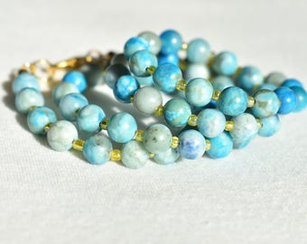 Blue Jasper Marbled Necklace / Natural Gemstone Light Blue Necklace / Yellow Glass Accents Patterned Necklace / Gift for Her