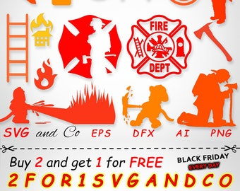 SALE! Firefighter clipart set -  fireman SVG file -  instant download - Files for Cricut and Silhouette - svg, eps, dxf, png - SAC111
