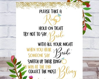 Don't Say Bride, Bridal Shower Games Printable, Take a Ring Game, Bling, Bachelorette Party, Sign, Size 8x10, Gold, Instant DIGITAL DOWNLOAD