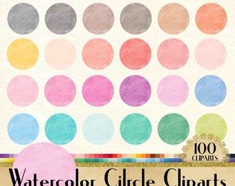 100 Watercolor Circle Clipart, Frame Clipart, Watercolor Clipart, Love Clipart, 100 PNG Clipart, Planner Clipart, Valentine Clip Arts