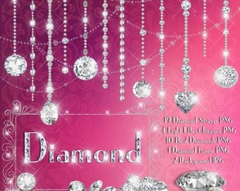 Hanging Diamond Chain Clipart,Diamond String,Jewelry String,Celebration Party,Instant download,Commercial Use,Planner Clipart,Real Diamond