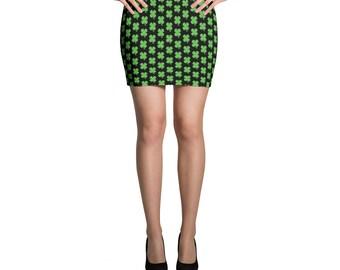St Patricks Day Skirt Shamrock Shirt Saint Patrick Skirt Green Shamrock Pattern Outfit Four Leaf Clover Skirt Ireland Women's Mini Skirt