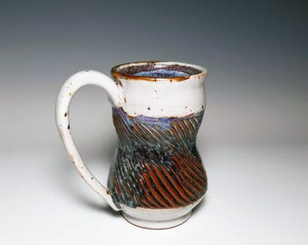 Crackle Pottery / Textured Mug / Ridged Pottery / Tall Ceramic Mug / Wheel Thrown Mug / Stoneware Mug / Handmade Mug