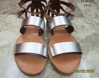 Sandals Women's,Women's Sandals,Handmade Leather Sandals,ασήμι σανδάλια,Strappy Sandals,σανδάλια πάρτυ,Beach,ARXAIKO,Classic sandals EUROPE
