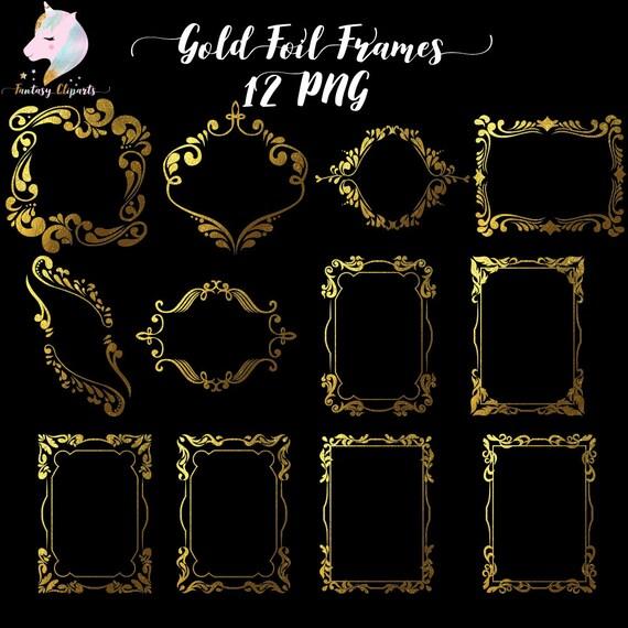Gold foil frames, frame clipart, gold frame clip art, gold foil ...