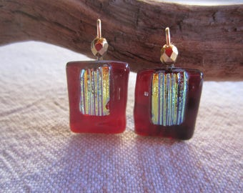 Dark red transparent and gold glass earrings