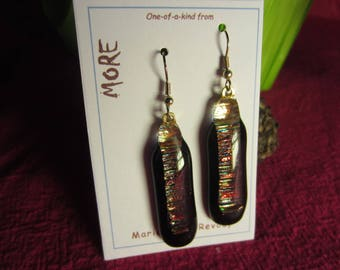 Earrings black fused glass with iridescent golden leaf inclusion