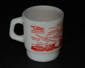FIRE KING, Vintage, Anchor Hocking, CBer Radio, Trucker, Milk Glass, Red, Coffee Mug, D handle, Coffee mug, Tea Cup, 1970s, Collectible