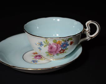 Amazing, ROYAL GRAFTON, Teacup and saucer set, in Blue with floral center, gold rim, Tea Cup, 6381, Blue Cups, Bone China Cup, wide mouth