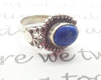 Lapis Sterling Silver Ring/Vintage Lapis Lazuli/Handmade/Free Shipping US/September Alternate Birthstone/Christmas/Birthday/Valentines gift