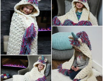 Unicorn blanket Crochet Pattern - Crochet Pattern for Unicorn Costume - Bulky & Quick Unicorn Crochet PATTERN by MJ's Off The Hook Designs