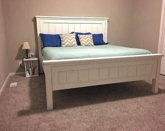 Custom Built Solid Wood Farmhouse Bed