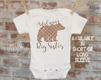 Buffalo Plaid Bear Personalized Big Sister Onesie®, Customized Sibling Onesie, Boho Baby Onesie, Cute Plaid Onesie, Girl Onesie - 417A