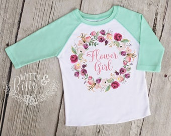 Flower Girl Mint Green Raglan Baseball Shirt, Wedding Outfit, Flower Girl Shirt, Boho Girls Shirt, Hipster Girls Shirt - R424F