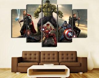 Superhero Movie Canvas Large Canvas Superhero Print Superhero Decor Superhero Canvas Art Kids Room Superhero prints Nursery Wall Art
