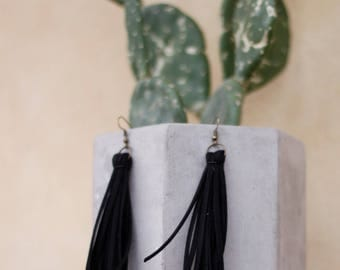 Courtney Extra Long Black Fringe Earrings   Leather Earrings   Birthday Gift   Anniversary   Gifts under 25   Handmade   Gifts for Her