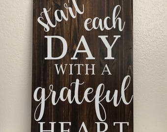 Start Each Day with a Grateful Heart wood sign, wall signs, wooden signs, wall decor, wood wall art, rustic wall decor