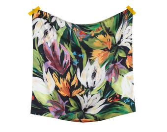 Winter Bouquet Silk Twill Scarf