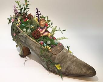 Fairy Garden in a Vintage Shoe