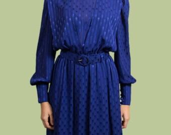 Vintage Blue Dress - Peter Barron Shimmer Iridescent Long Dress with Belt and Elastic Waist