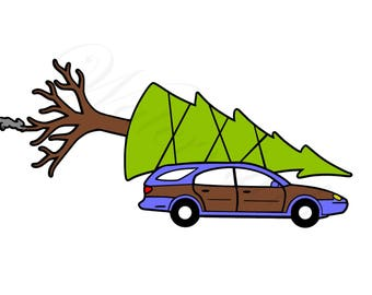 National Lampoon's Family Christmas SVG and Studio 3 Cut File Tree Station Wagon Cutouts Vacation Files Decal Logo for Silhouette Cricut