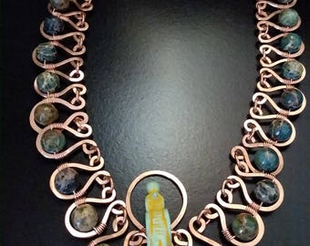 Egyptian Deity Goddess Horus Handmade Hammered Copper and Gemstone Bead Necklace OOAK