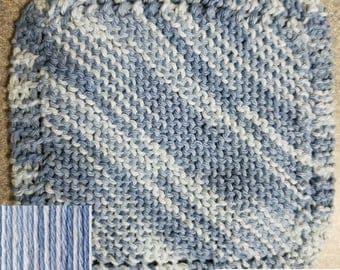 Handmade Knitted Dishcloth - Free USA Shipping - Faded Denim