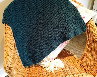 Knitting Pattern Aran Baby Blanket Afghan Heirloom Cable Moss