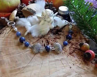 Bracelet coquillage en quartz bleu naturel 19cm Par Angel'S SignS