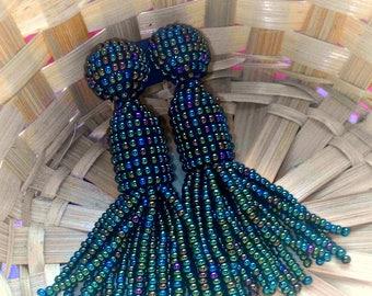 Rainbow Dark Green/oscar de larenta/Short-tassel/handmade/ clip on earrings/earrings tassels/on a silver clip/Unique Gift/for Halloween