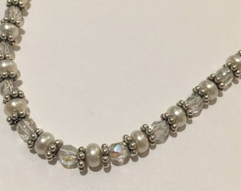 Swarovski Crystal, Freshwater Pearl, and Sterling Silver Necklace