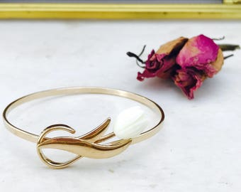 Vintage AVON Gold Bangle Bracelet with Flower Accent | Free Shipping