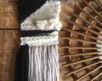 BlackSheep 2 hanger, weaving, tapestry, Bohemian spirit. Off white, black, gray tones. Pure wool, mohair, angora.