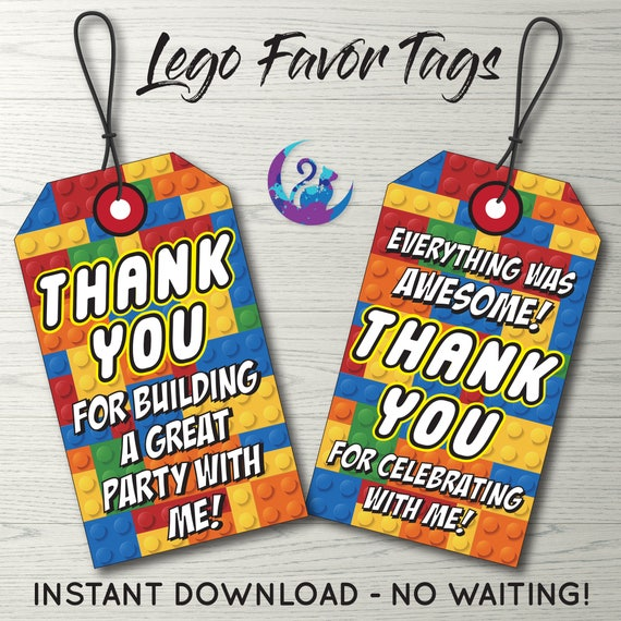 Lego Favor Tags Lego Thank You Tags Lego Party Decoration