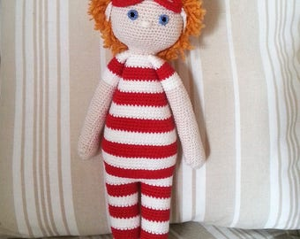 """Crochet cotton thread and wool """"Arthur at Deauville"""" Doll"""