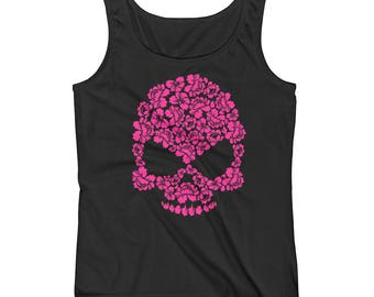 Pink Hibiscus Floral Skull Print Ladies' Tank Top