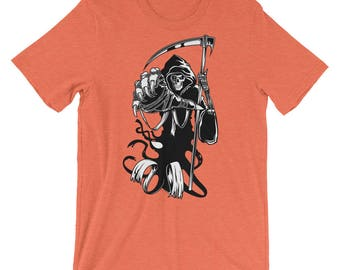 Grim Reaper Of Death Scary Skeleton Halloween Reaper Unisex T-shirt