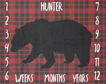 Black Bear on Buffalo Plaid Milestone Blanket / plaid milestone blanket/ buffalo plaid nursery/ black bear nursery / monthly photo blanket