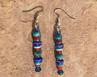 Multi stone dangle earrings,green, blue, red, silver, Variscite, Turquoise.
