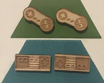 Nintendo Earrings - Laser Cut Linden Wood