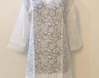 42 Inch - White Chikankari Long Kurta, Lucknawi Chikan Kurti, Handmade Embroidered Kurta, Indian Ethnic Kurta, Cotton Kurta